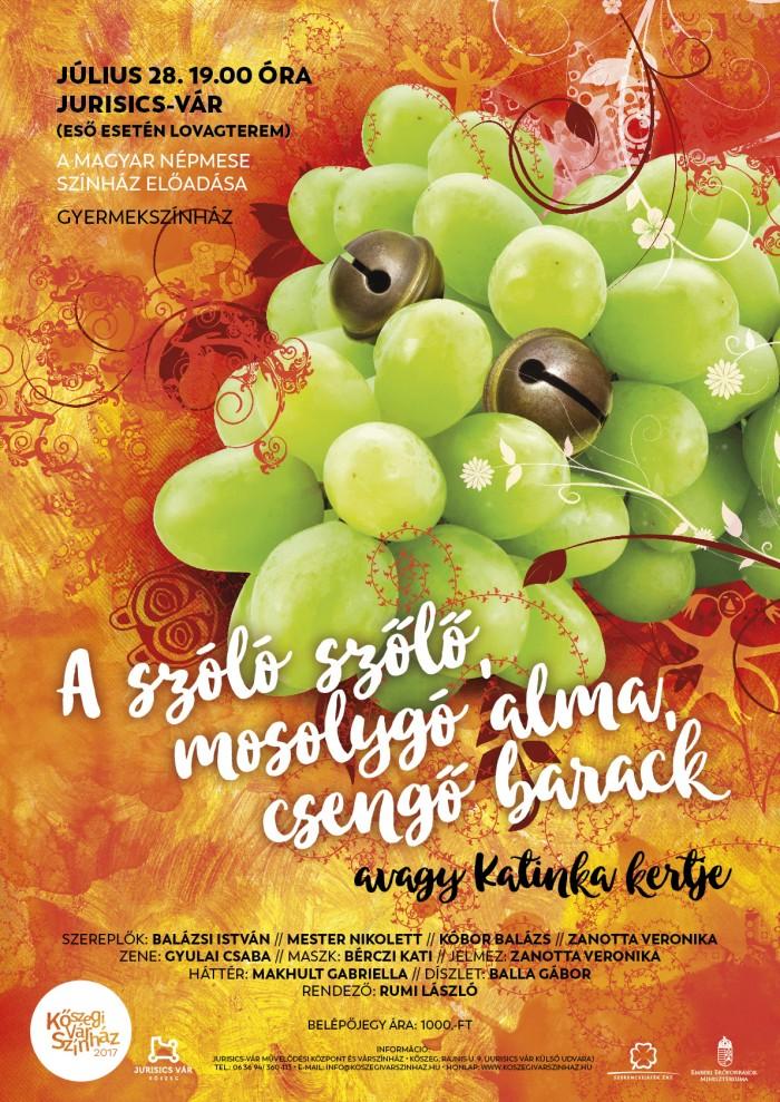 A szóló szőlő, mosolygó alma, csengő barack plakát